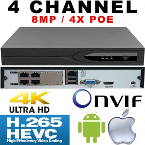 IP Network 8MP 4 Channel NVR : 4X PoE Ports, 3840x2160, 1x SATA, H.265, ONVIF, RTSP, HDMI, VGA, USB, Audio, RJ45, Face Detection, Phone App
